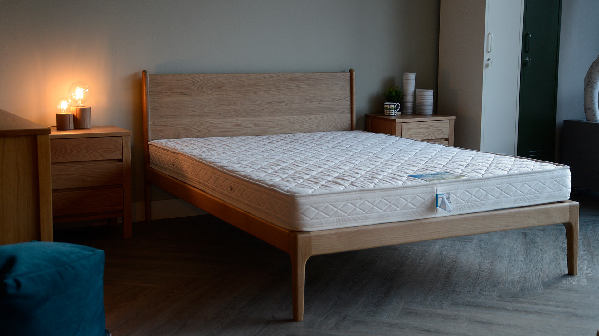 The Camden bed is a mid century style hand made wooden bedframe shown here in Oak