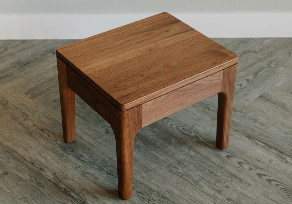 walnut hand crafted bedside table