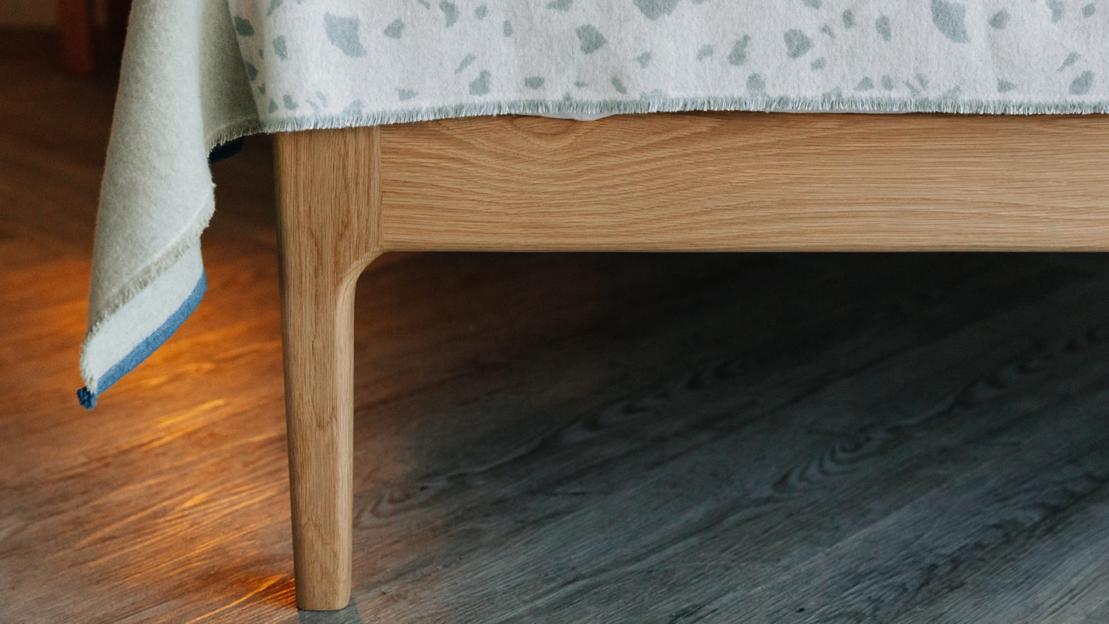 leg of Camden handmade bed in solid oak