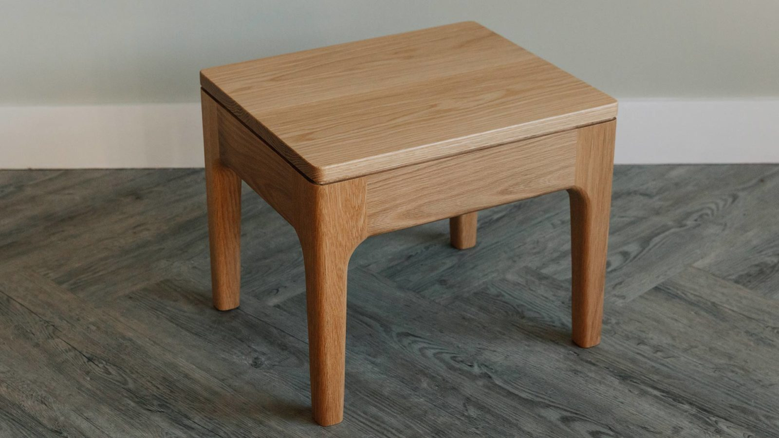 Camden solid wooden bedside table - shown in oak but available in a choice of wood