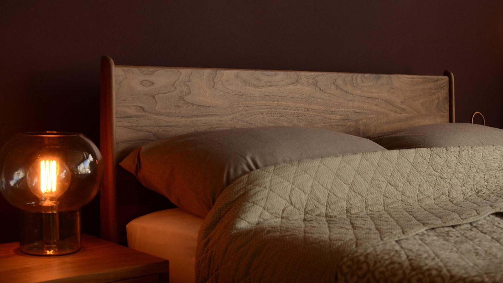 hand crafted wooden Camden Bed in rich Walnut