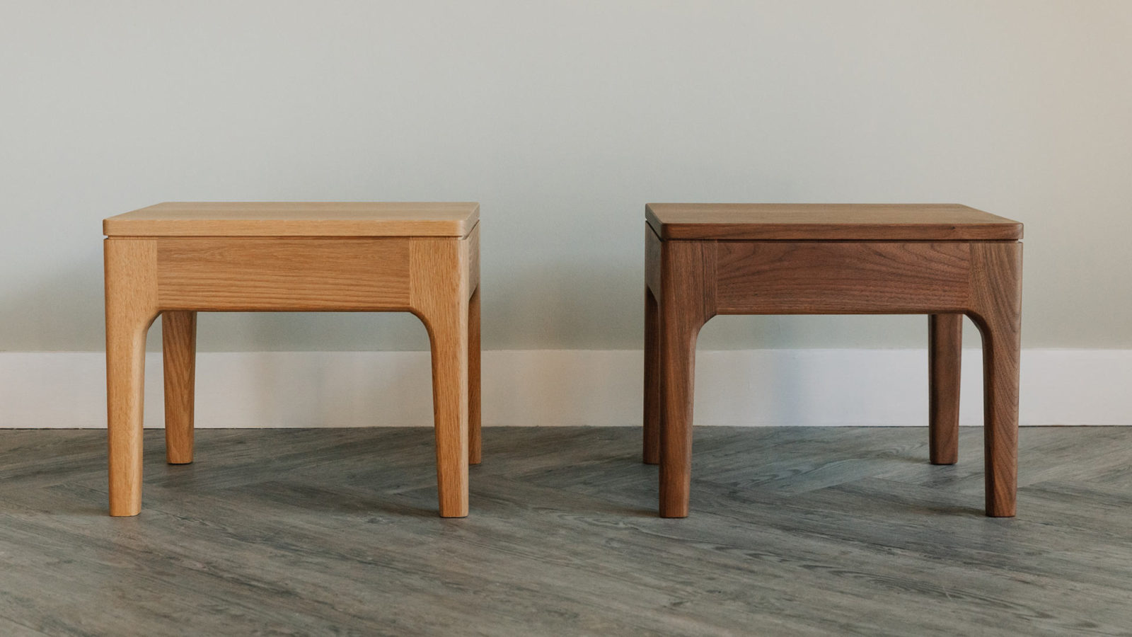 Bedside tables in oak and walnut designed to complement our Camden and Hoxton beds