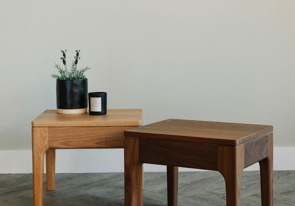 solid wooden Camden bedside tables shown in oak and walnut