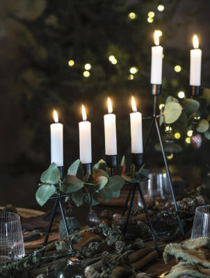 black metal candle holders in 2 sizes