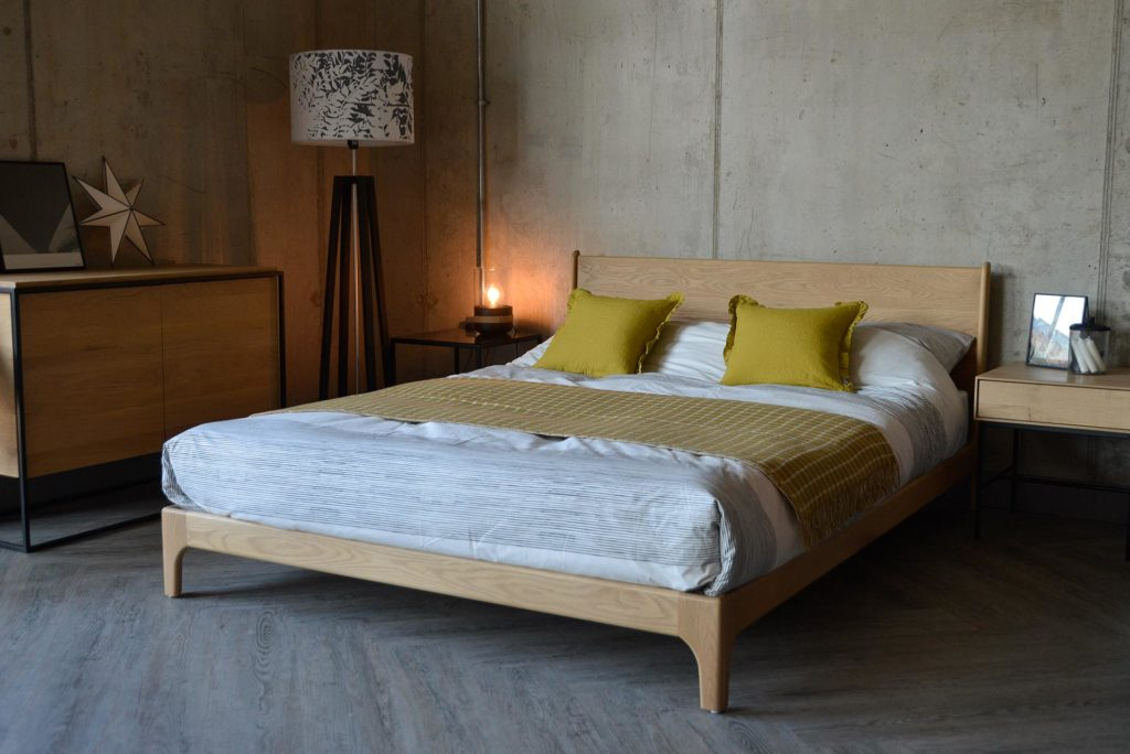 Carnaby a handcrafted low wooden bed with a Scandinavian look.