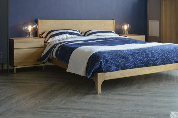 Our Carnaby bed is hand made in a choice of wood and in a full range of bed sizes. This one is Oak.
