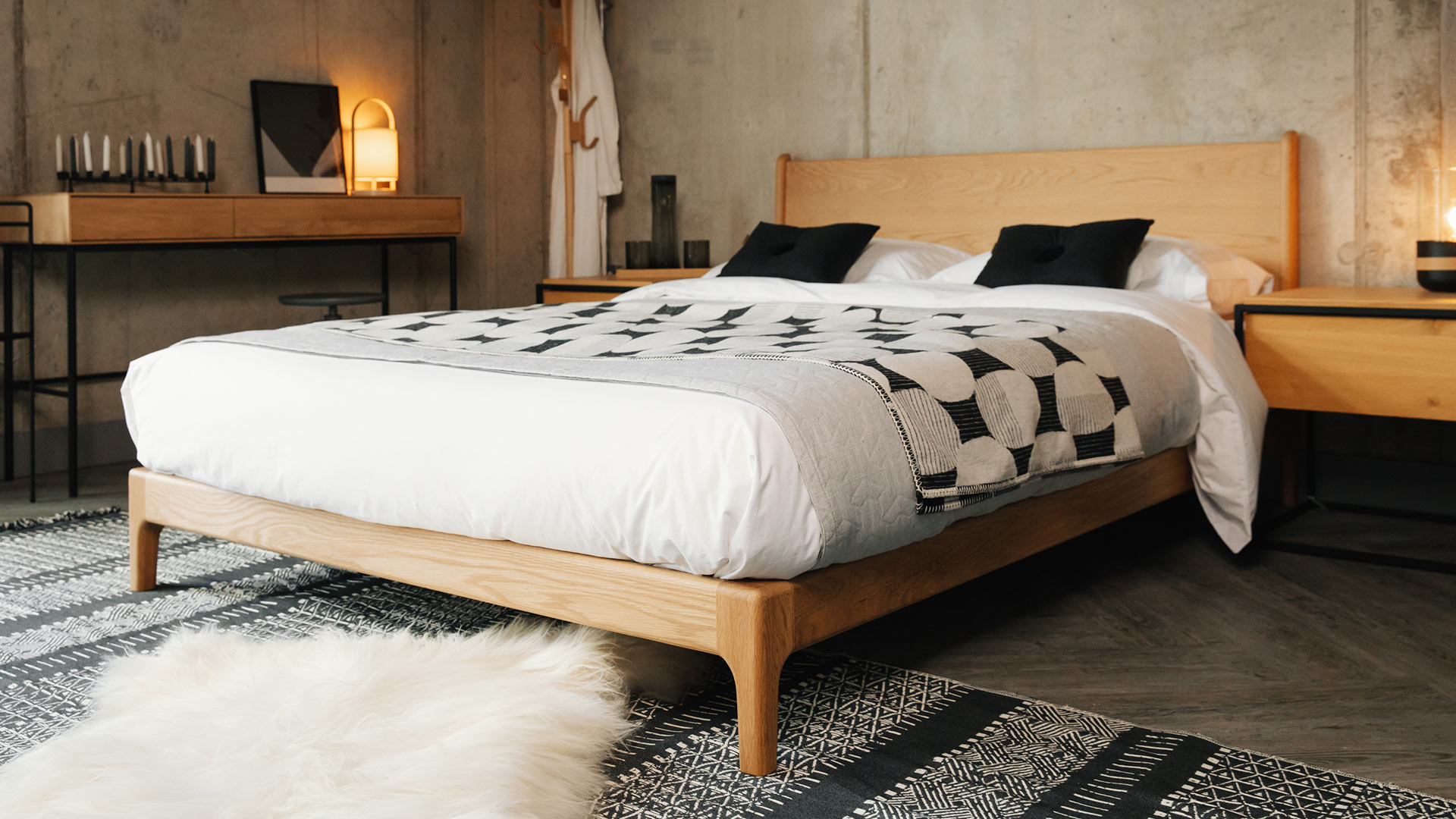 monochrome bedroom setting for low oak Carnaby bed