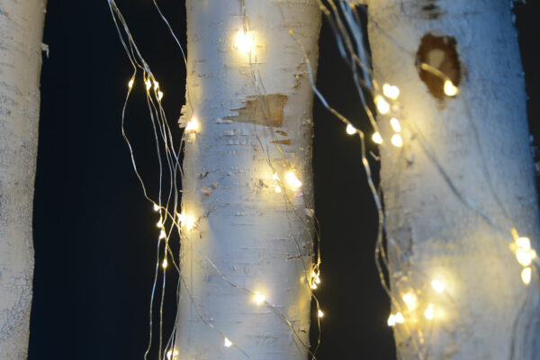 Pretty cascading LED fairy lights with silver wires