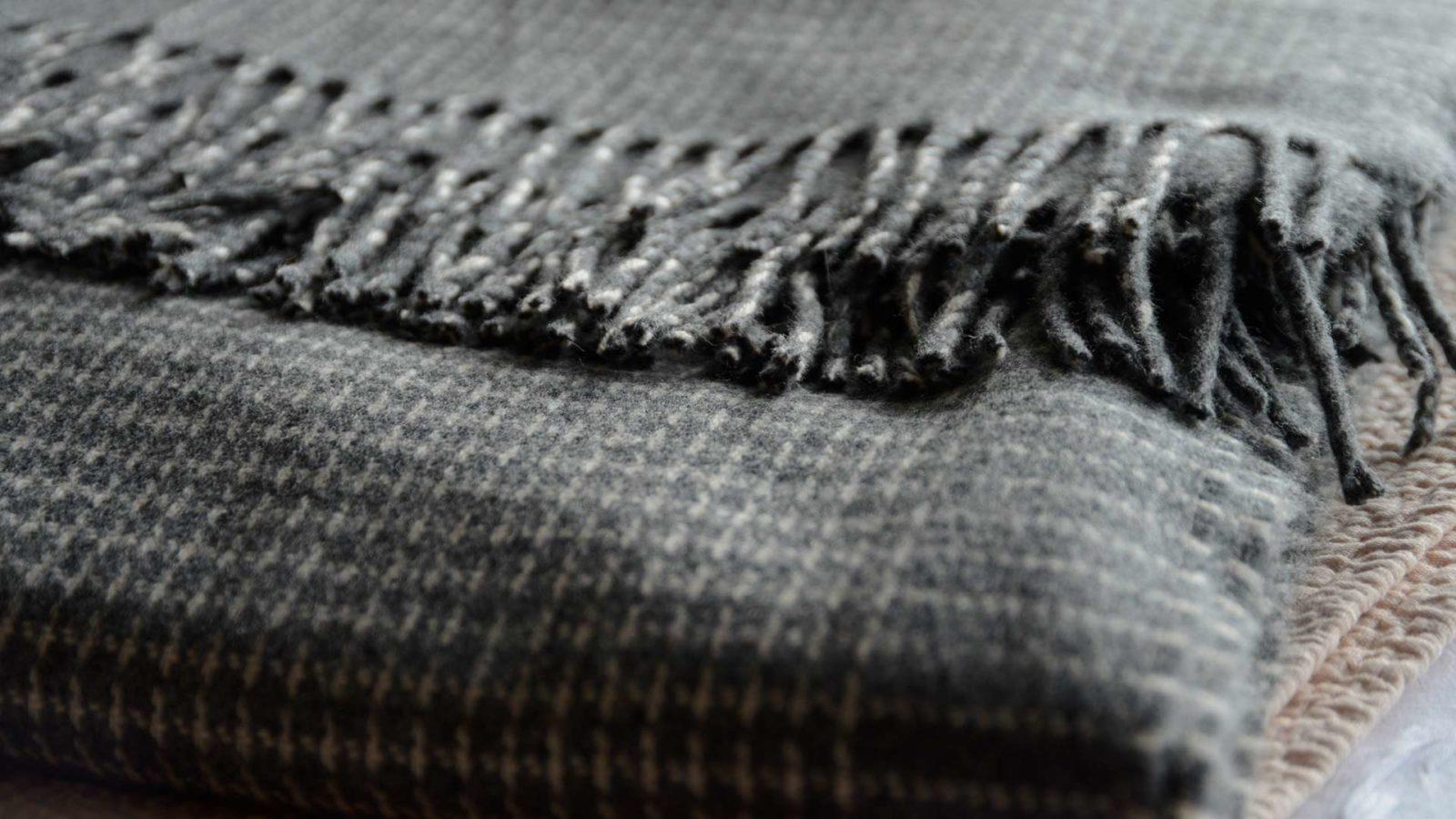 cashmere blend grey check throw