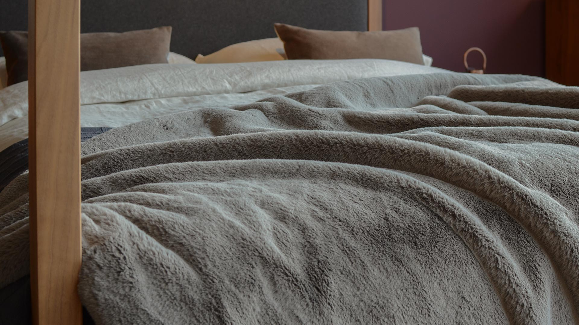 Grey Luxury Faux Fur Bedspread Bedding Natural Bed Company