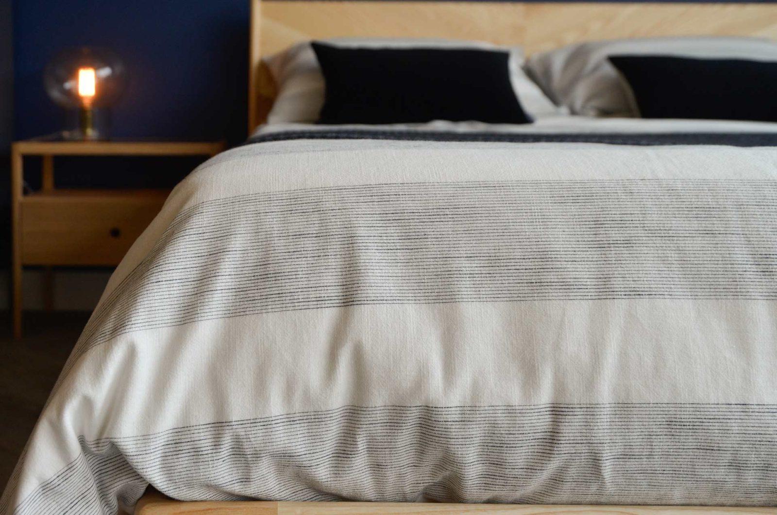 woven-cotton-chambray-striped-bedding