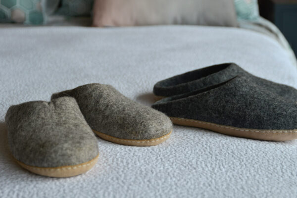 wool felt slippers in charcoal or oatmeal