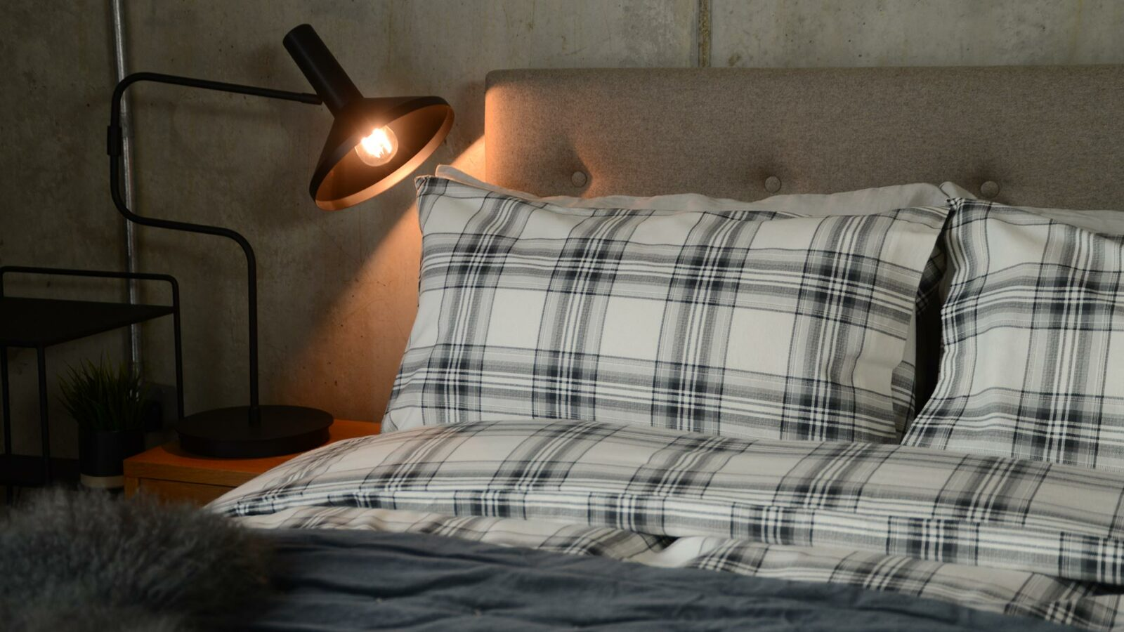 Ivory and grey check soft brushed cotton bedding.