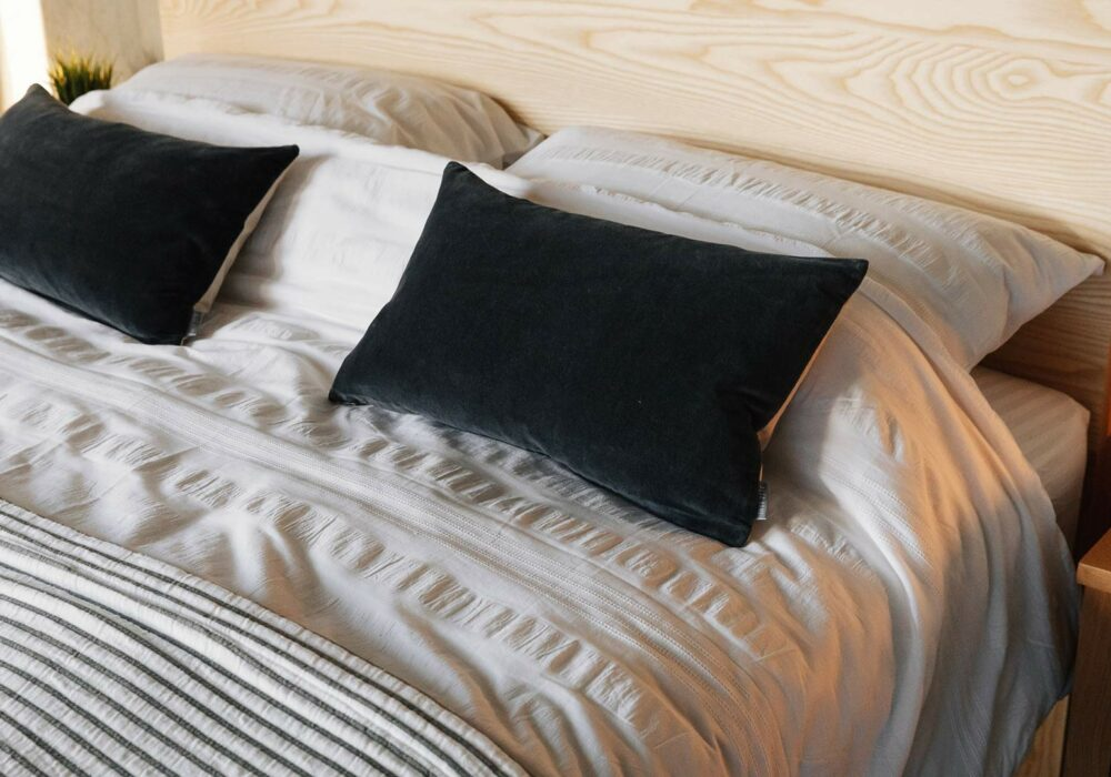 white textured cotton duvet set with charcoal accessories