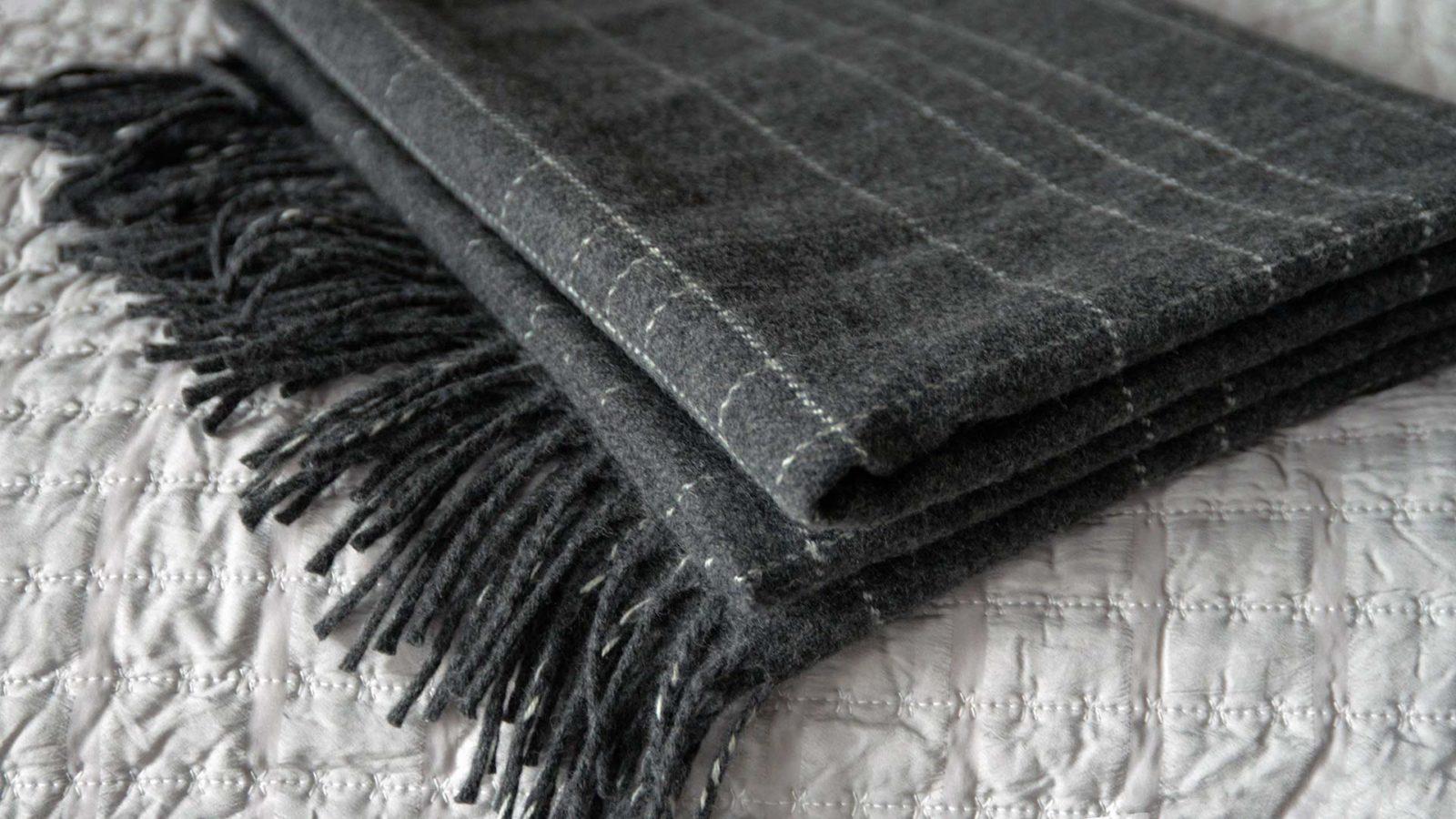 dark grey bed runner