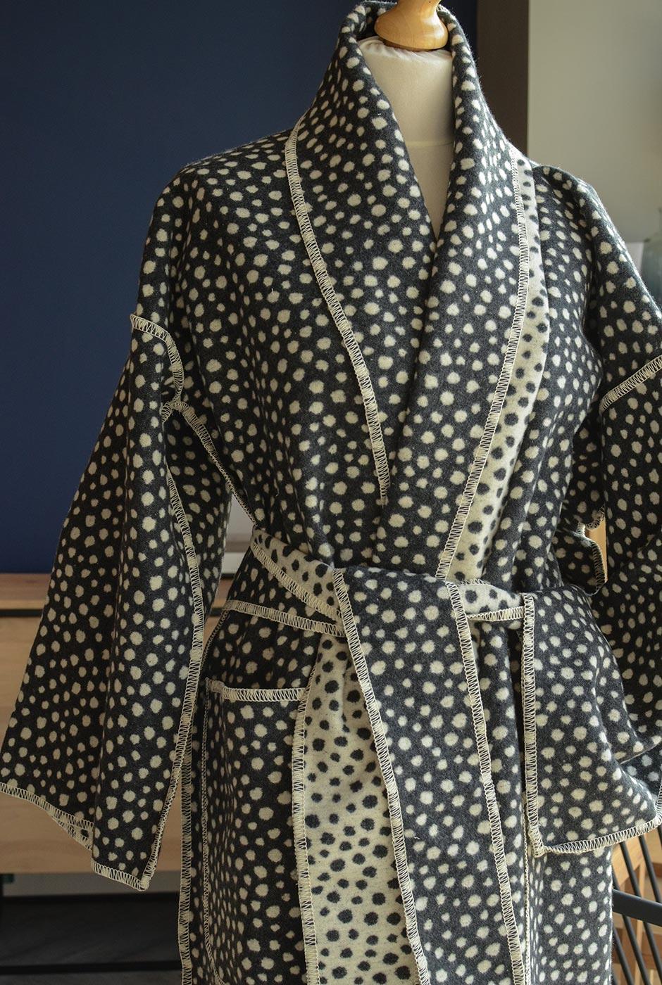 cosy charcoal spots robe