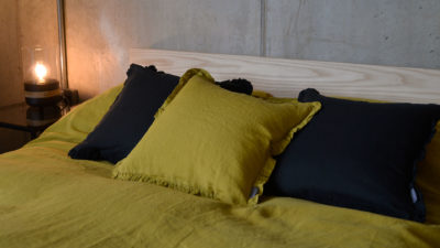 chartreuse-and-black-linen-ruffle-cushions