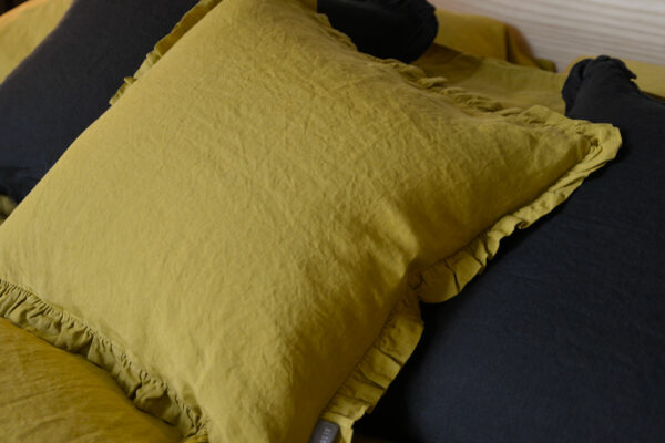 chartreuse-and-black-ruffle-cushions-close-up