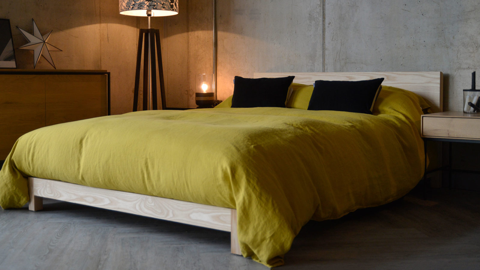 chartreuse linen bedding on our low solid wood Sonora bed here made from Ash