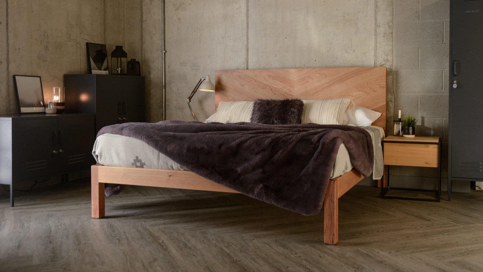 Hand made in Britain the solid wood Hathersage bed with chevron headboard in cherry