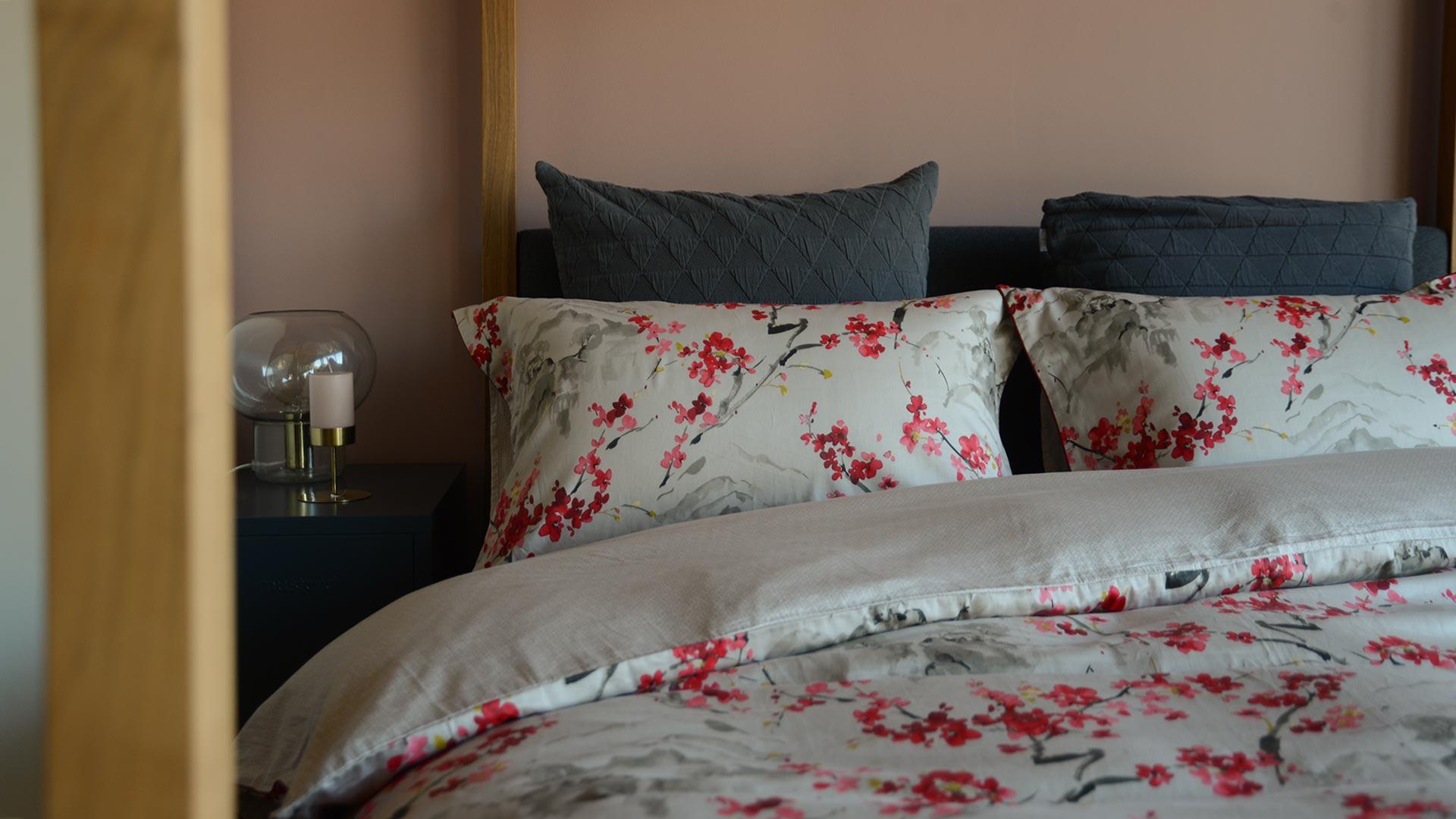 stone cherry blossom print duvet set