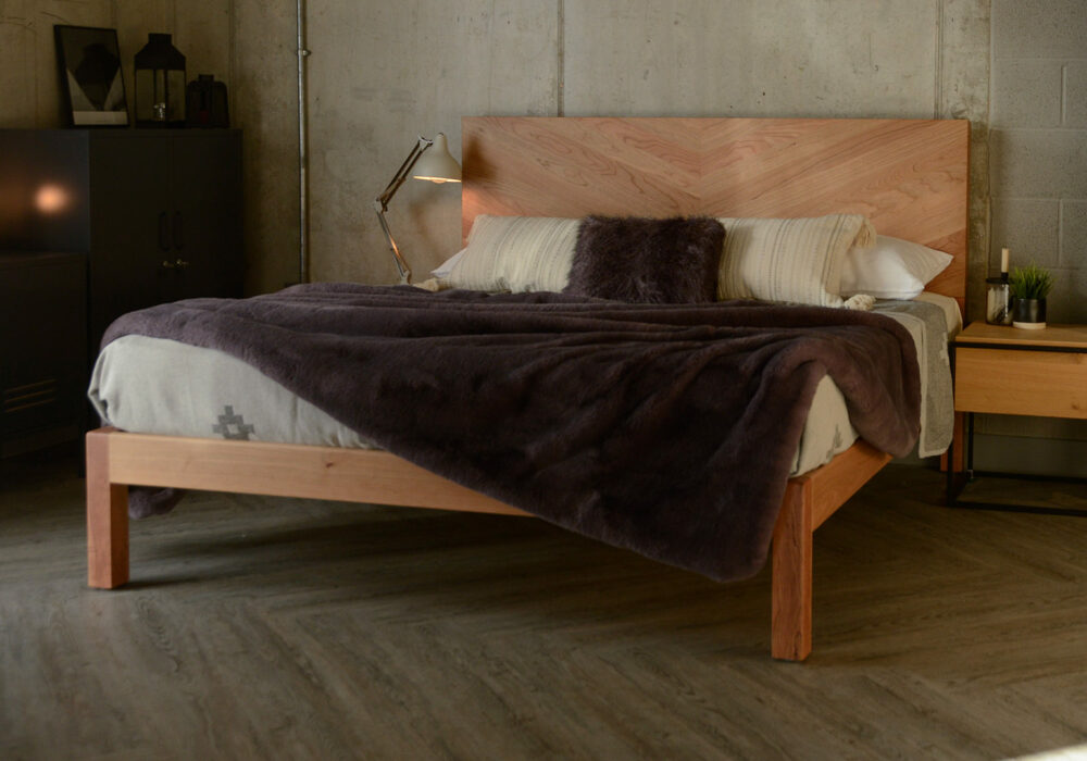 Industrial look bedroom with the tall headboard, solid wood, handmade Hathersage bed