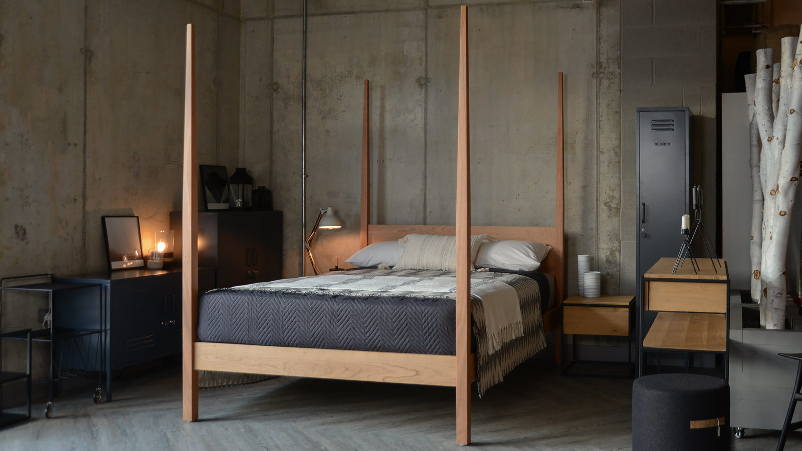 Centrepiece solid cherry wood 4 poster bed - the Hatfield, exclusive to Natural Bed Company