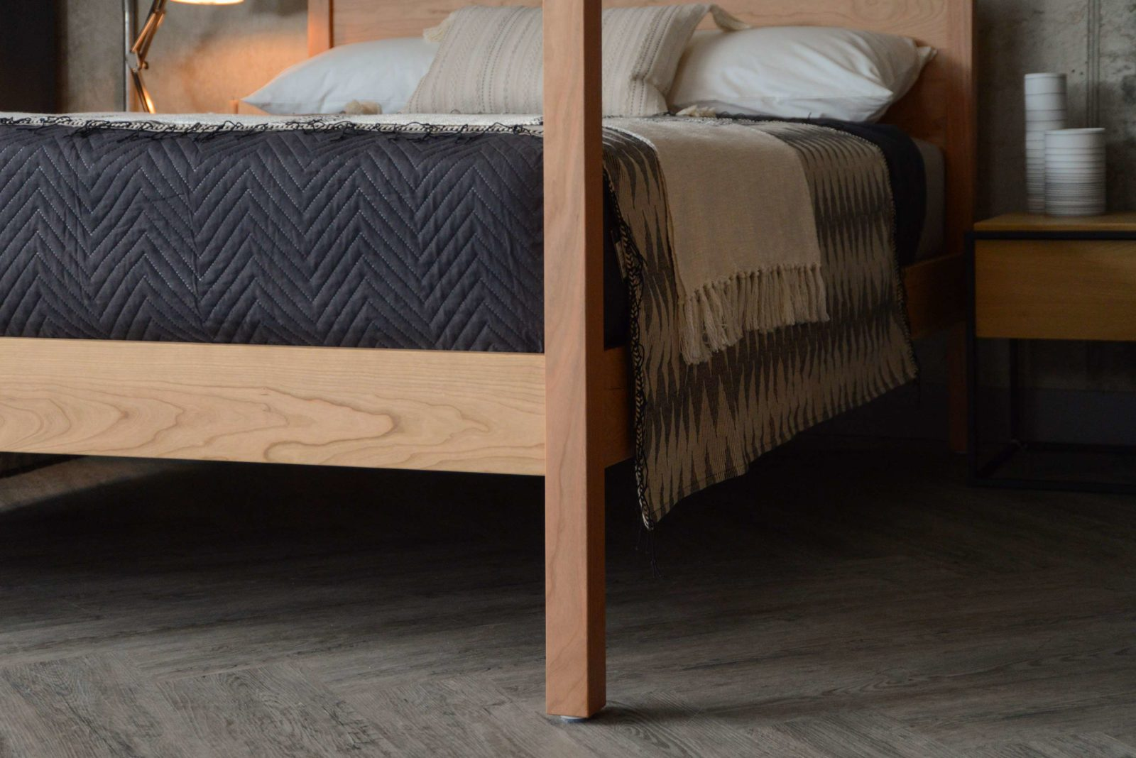 A closer view of the bedframe of our Hatfield 4 poster wooden bed