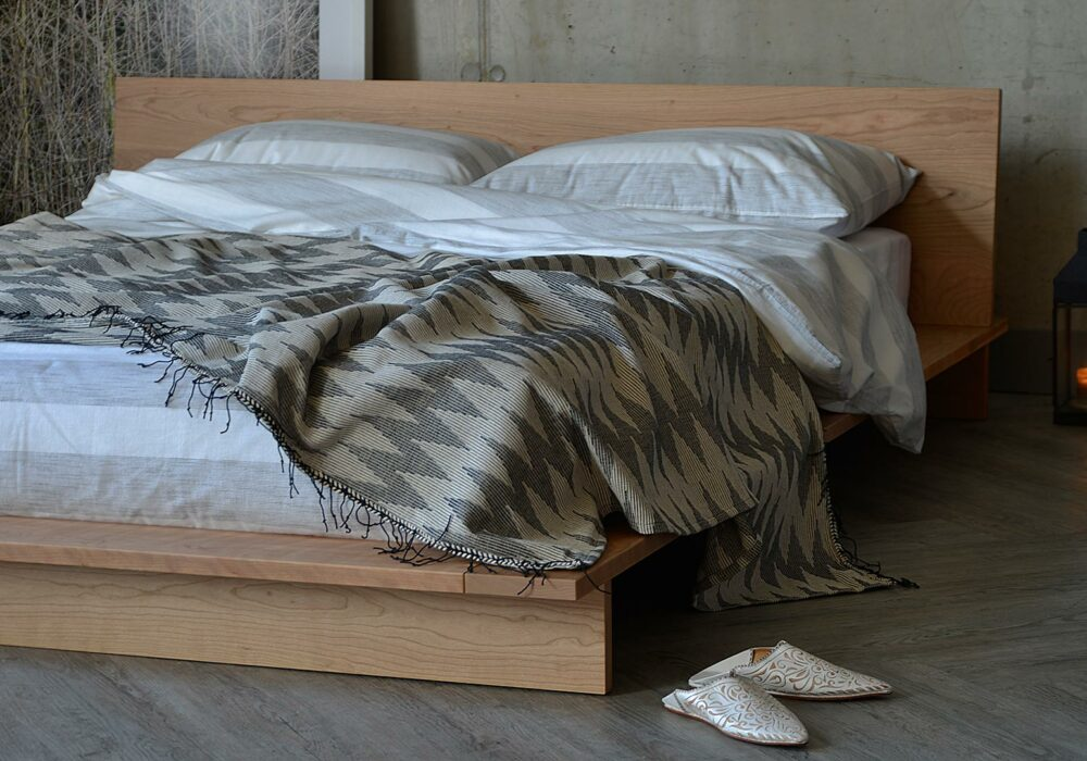 Contemporary wooden Platform bed - The Oregon comes in a choice of wood, here in cherry