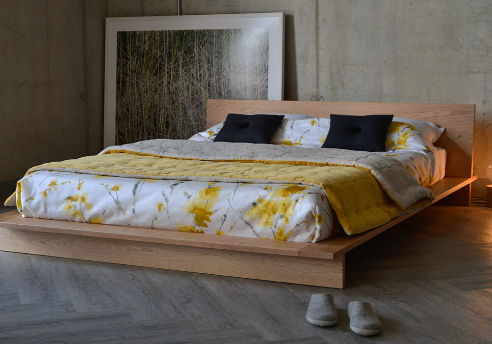 Low solid wood platform bed - The Oregon designed and made by us in Sheffield