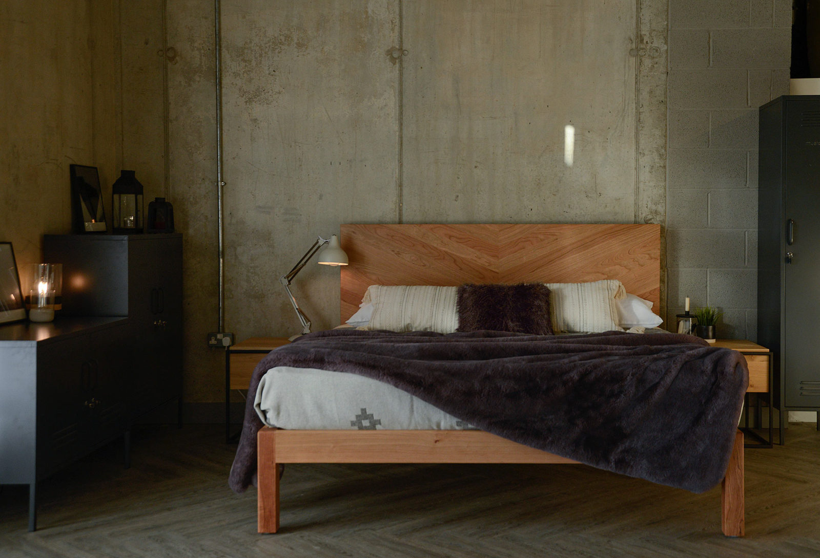 Hathersage a hipster style wooden bed with a tall parquet pattern headboard