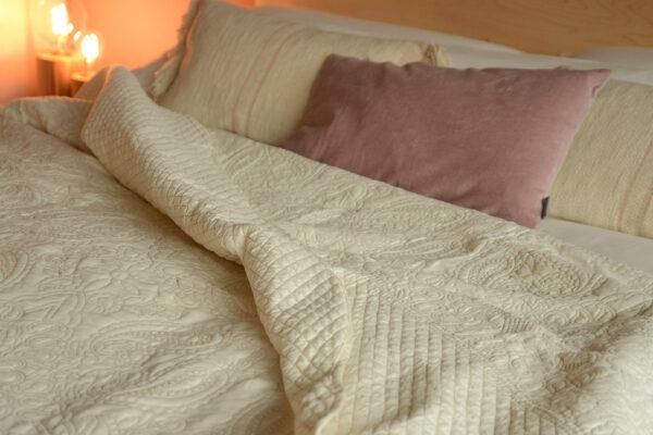 cream embroidered bedspread