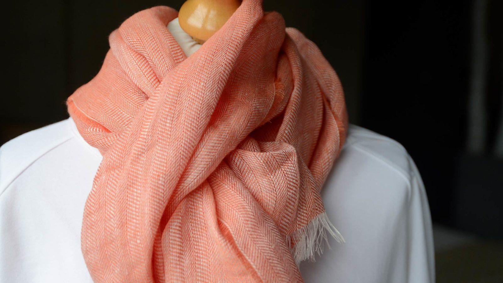 linen scarf in nectarine