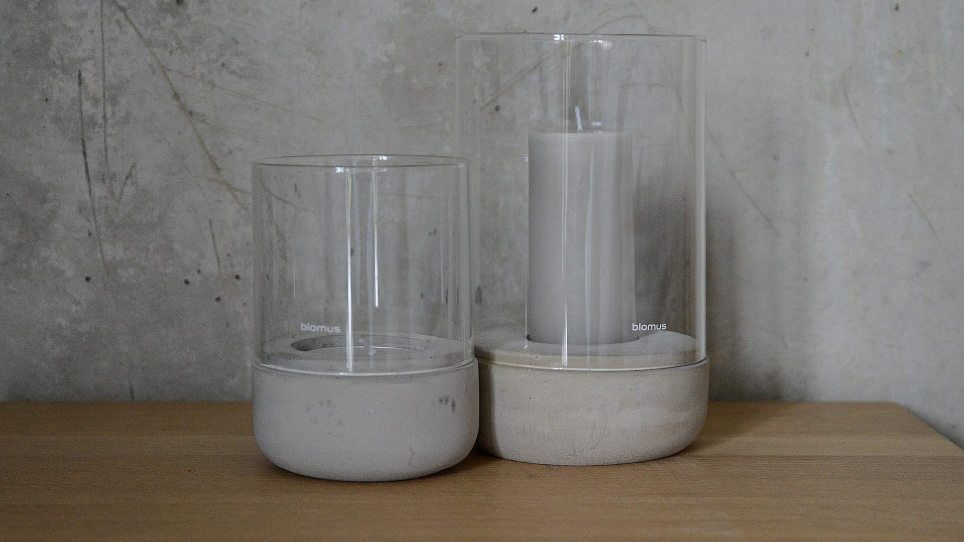 Concrete Glass Candle Holder 2 Sizes Natural Bed Company