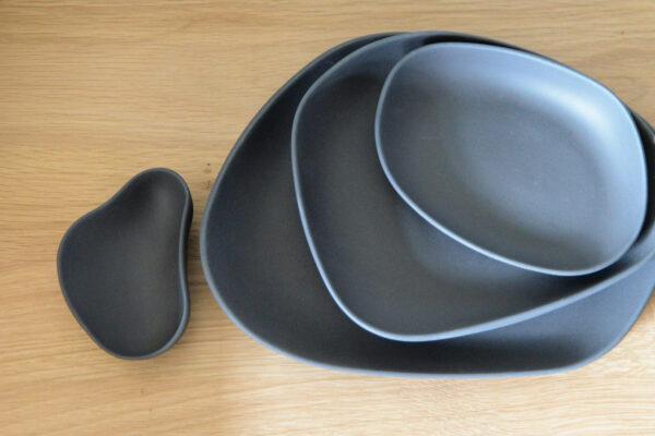 modern tableware in dark grey