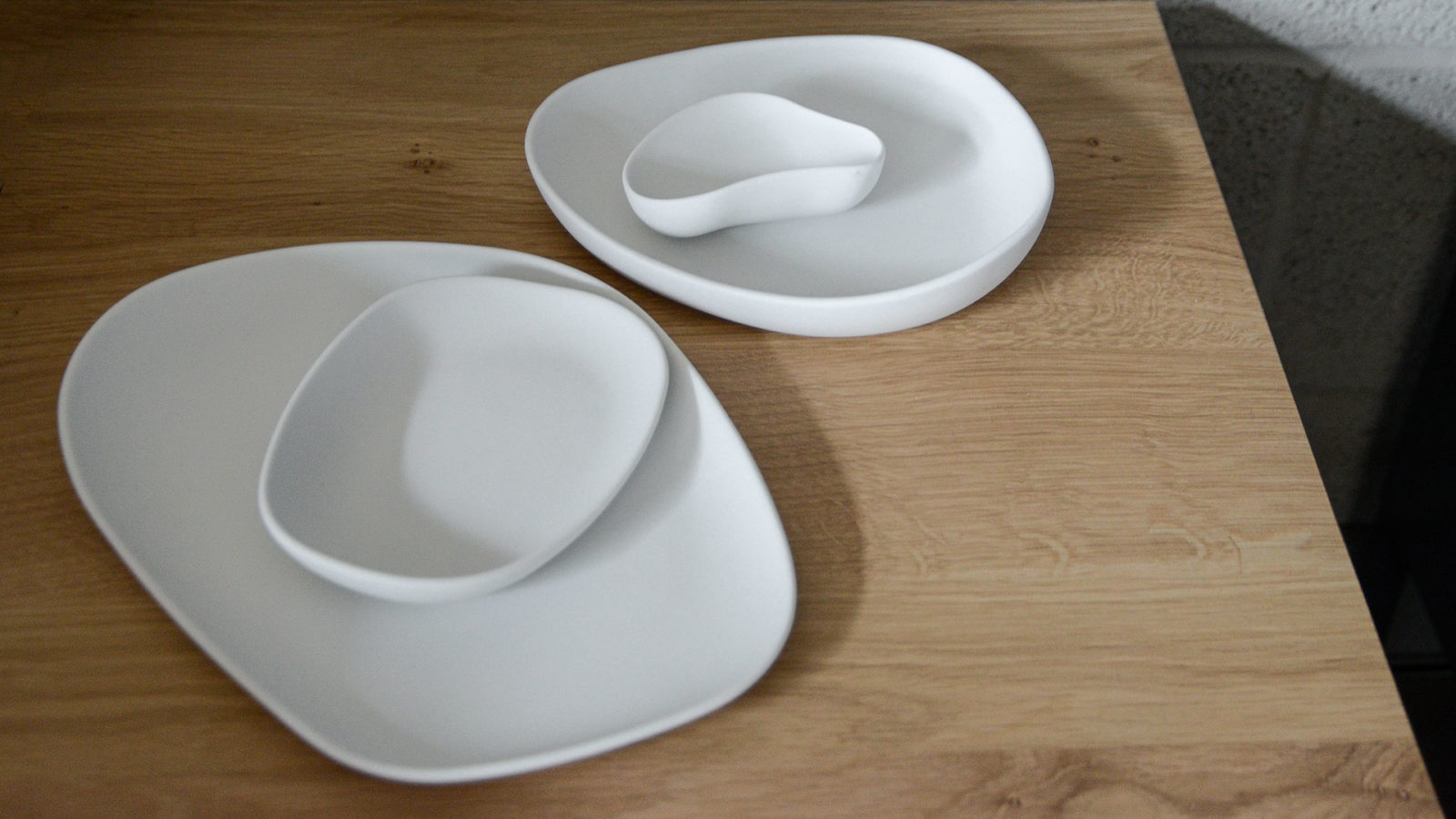 irregular shaped tableware in matte white porcelain