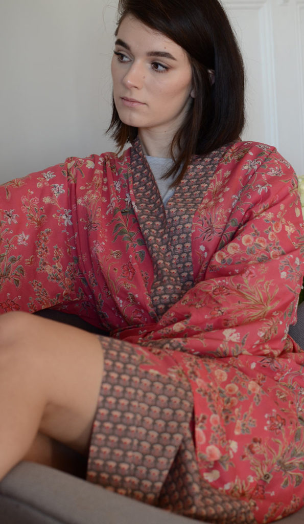 coral-red-floral-robe