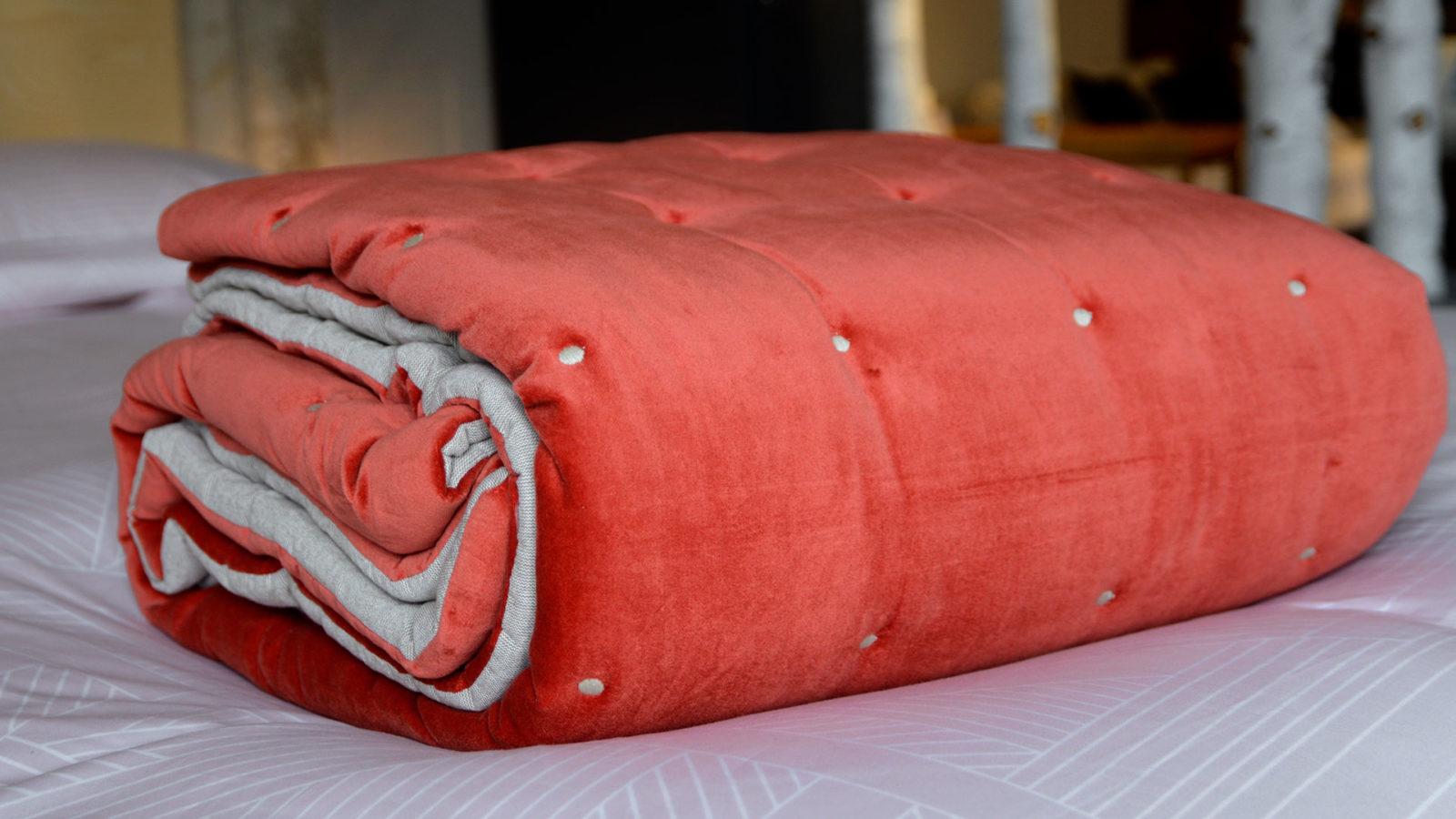 coral reversible quilt