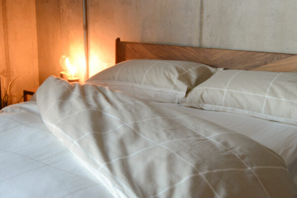 beige and cream brushed cotton bedding