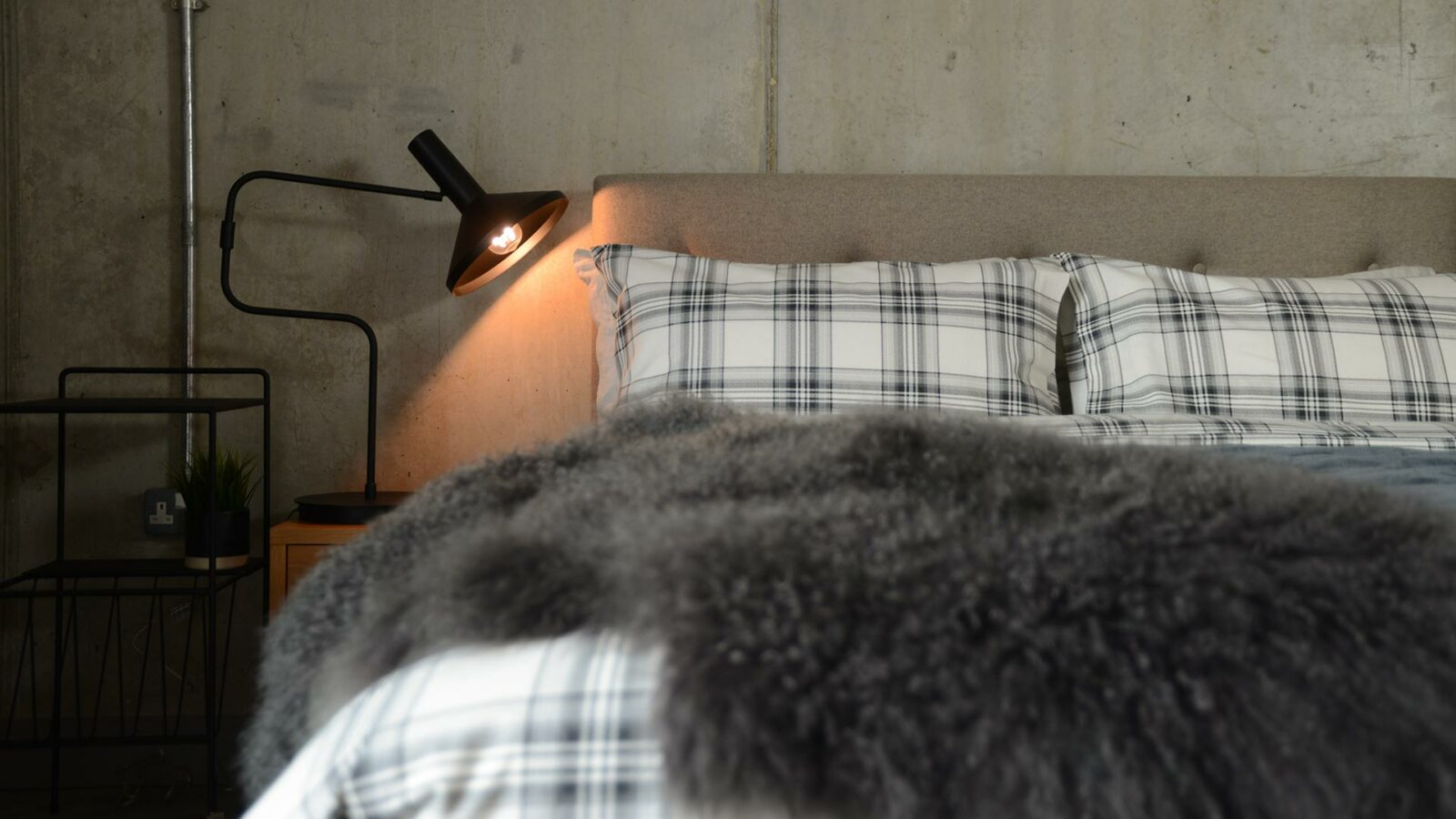 Soft brushed cotton cosy duvet set in grey check.