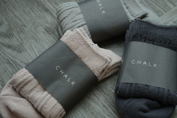 cable knit socks in light grey, dark grey and blush pink