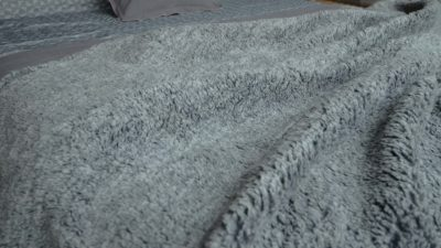 grey fleecy throw