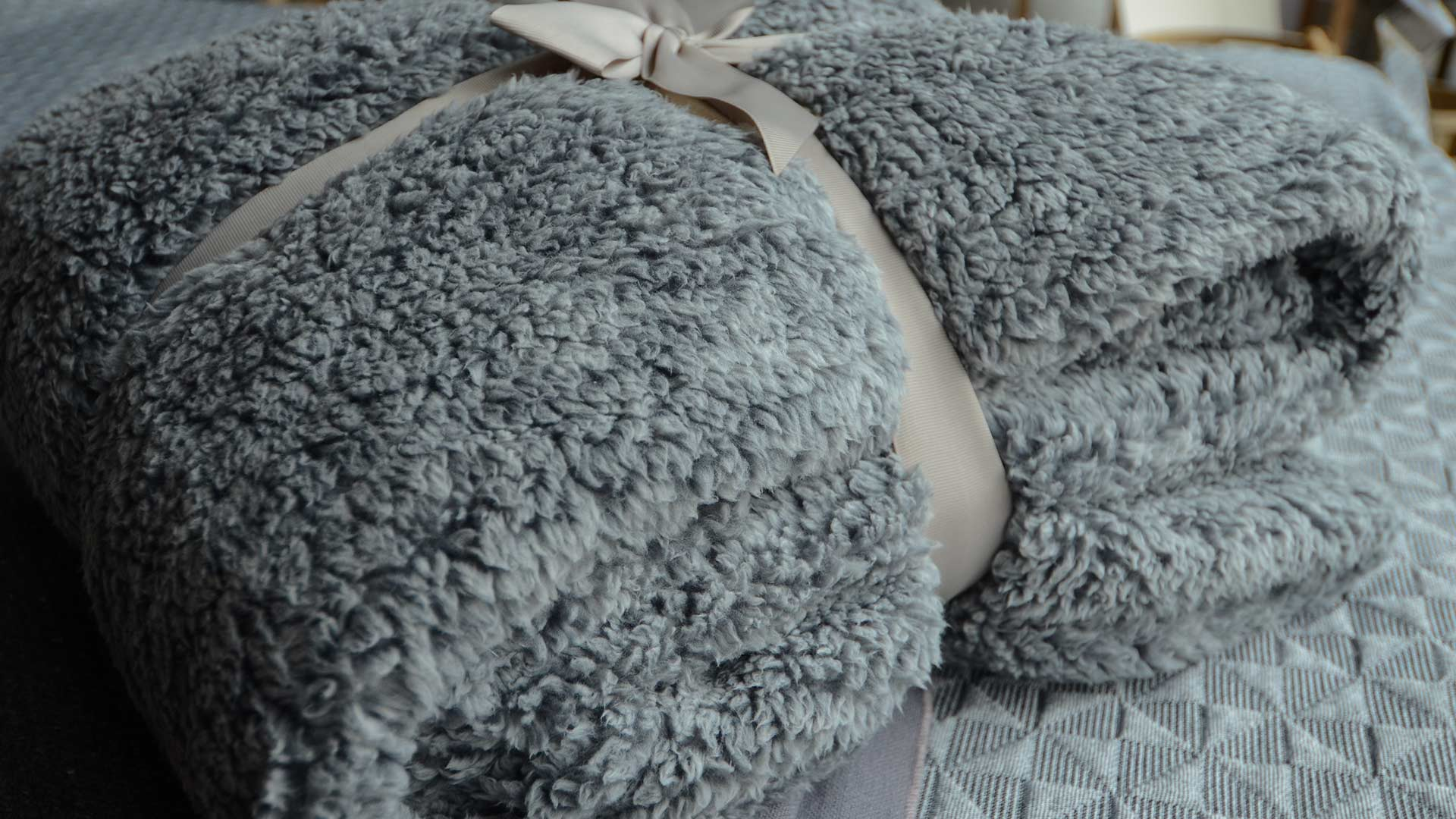 Cosy Cloud Grey Fleecy Throw Blankets Natural Bed Company