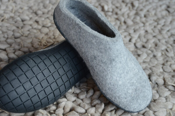 cosy wool felt slippers with sturdy rubber soles
