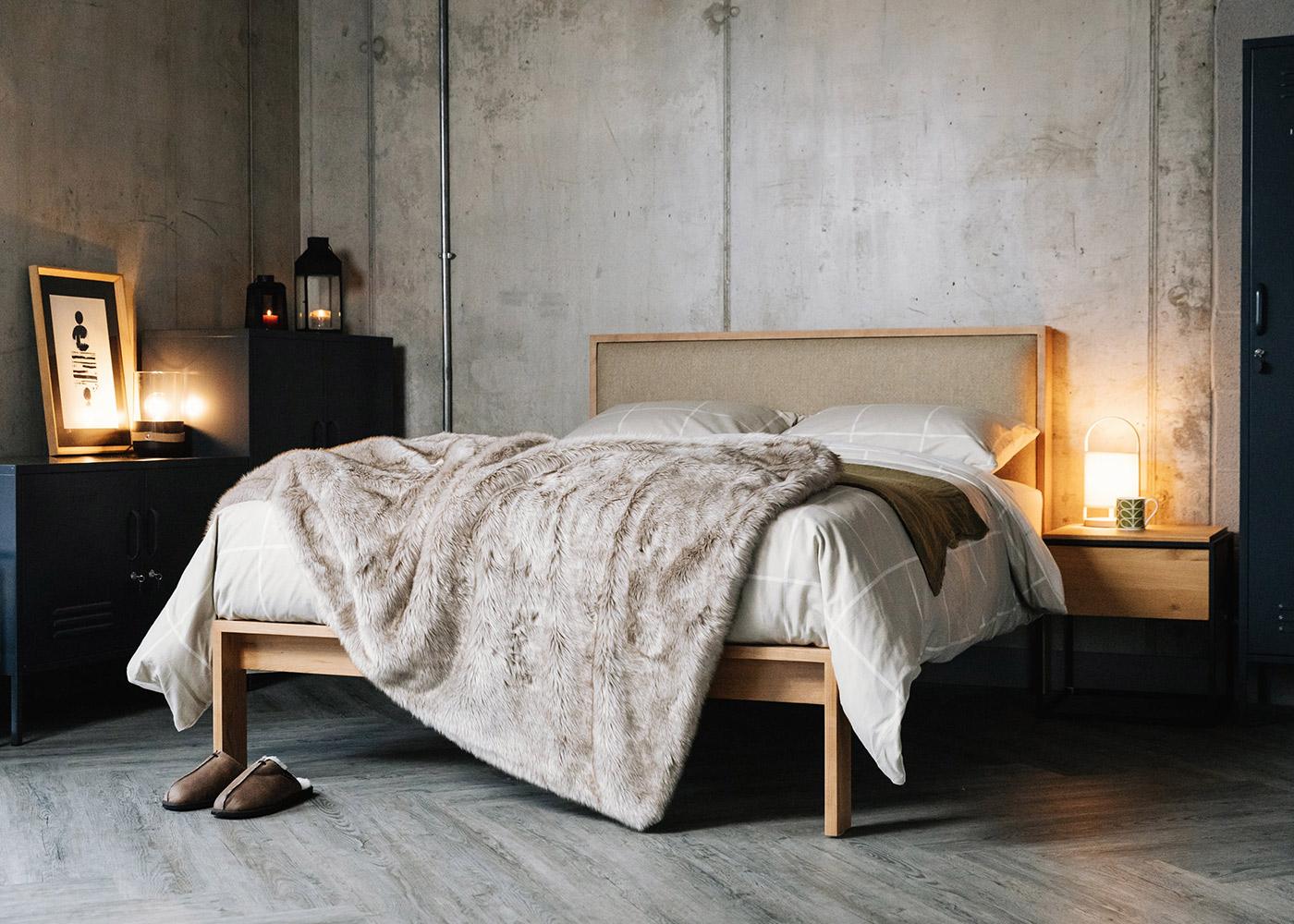 Winter Bedroom Look - Cherry Shetland Bed with upholstered headboard