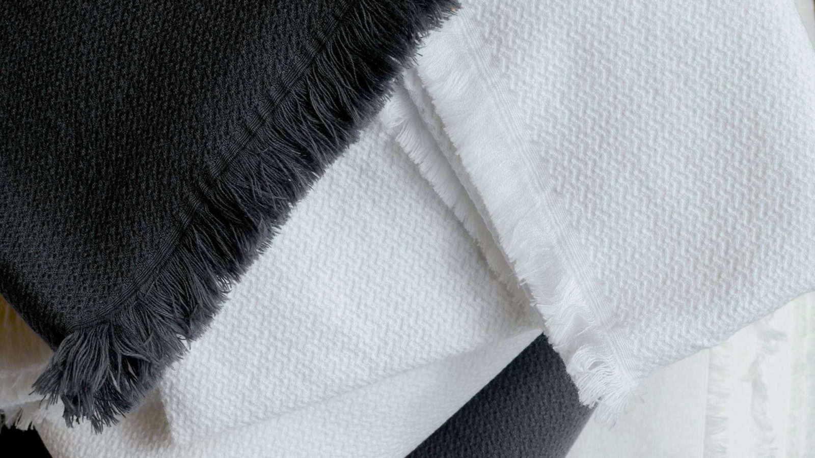 cotton pique towels white and slate grey