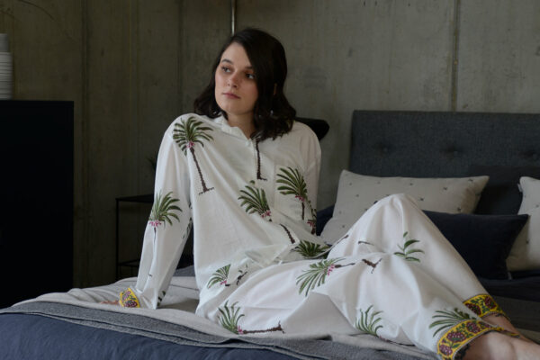 light cotton pyjamas with palm tree print and patterned cuff details