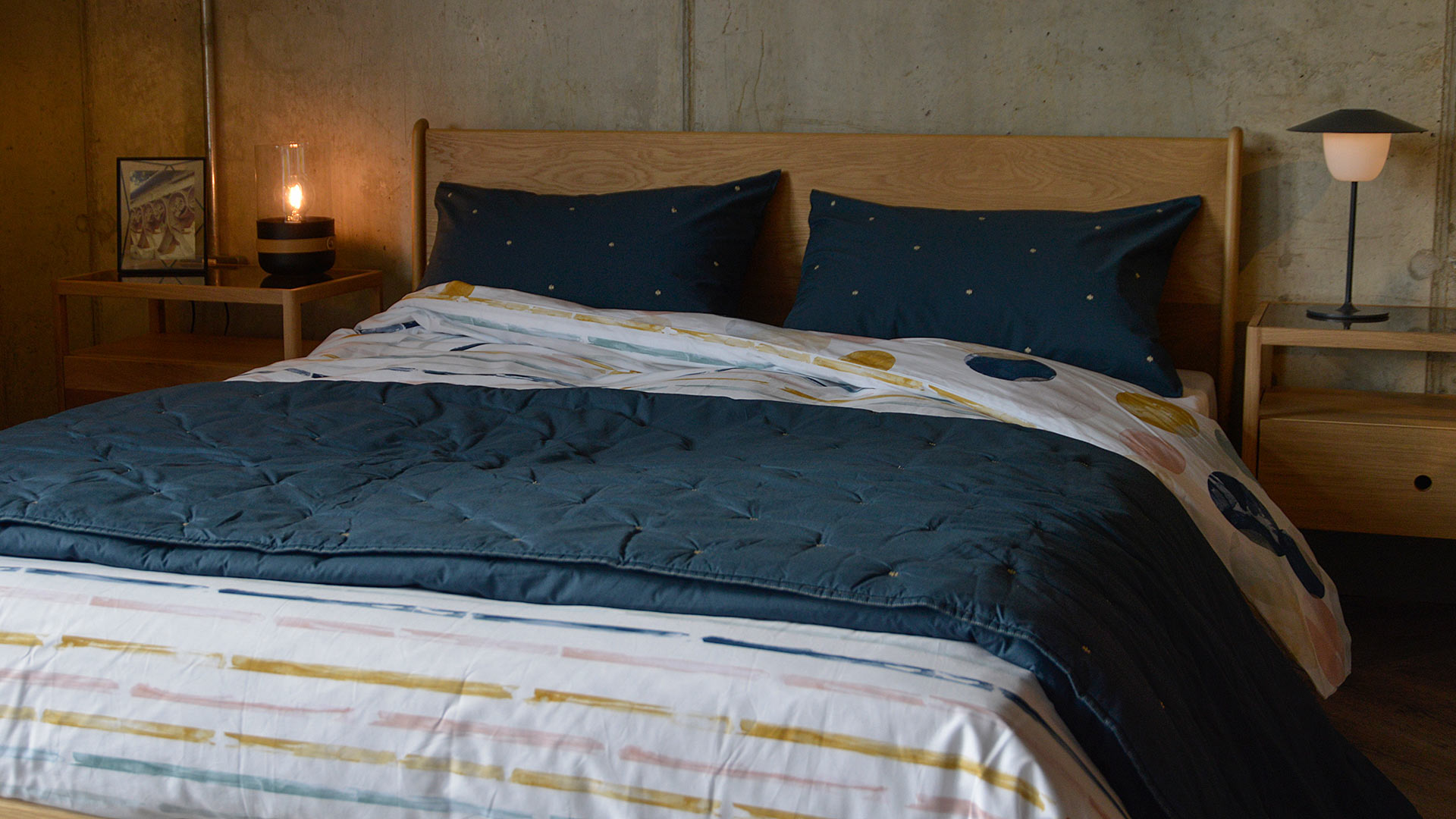 Marine Blue Quilted Bedspread Pillowcases Natural Bed Company