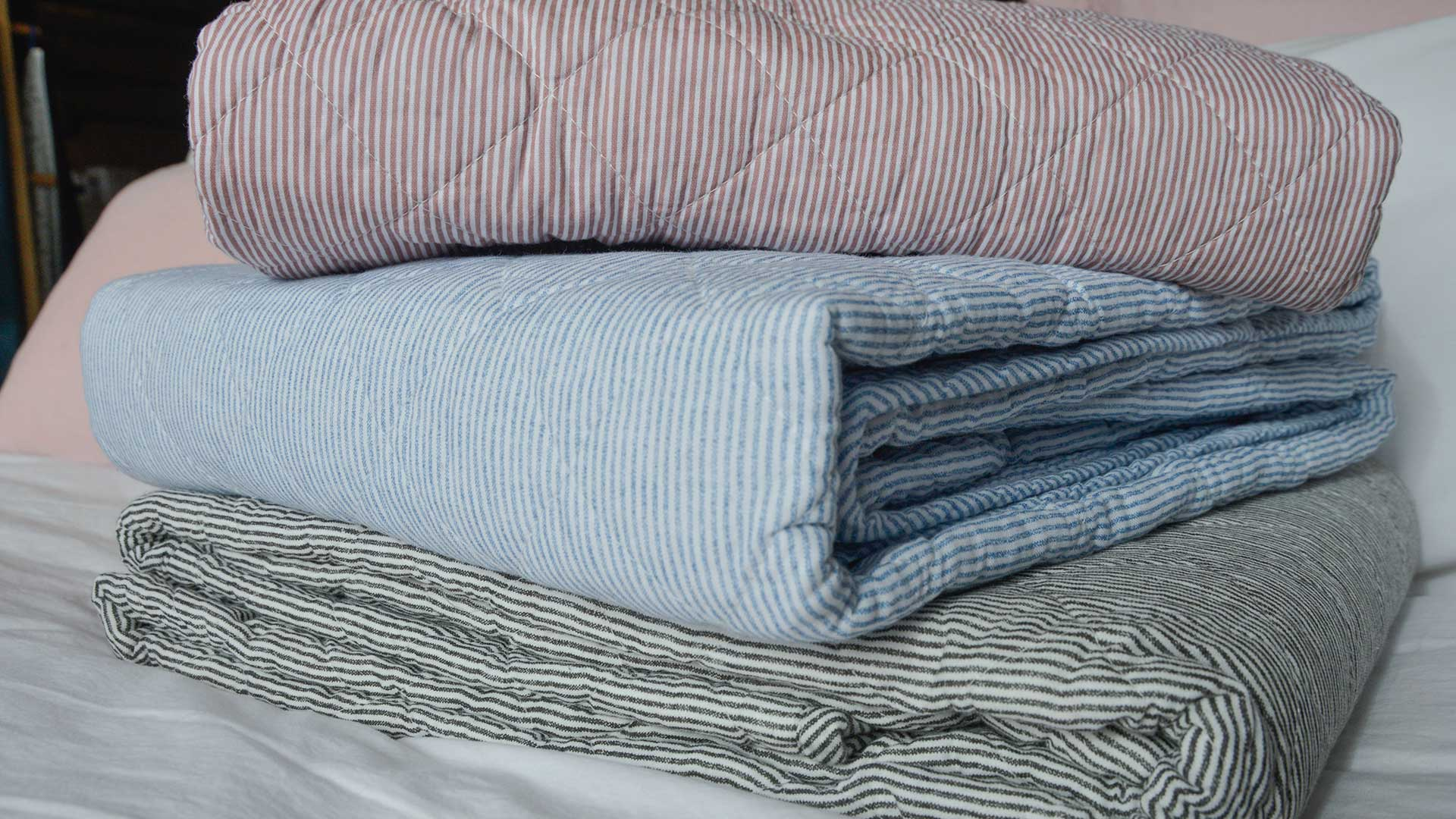 Striped Cotton Quilted Throws Blankets Natural Bed Company
