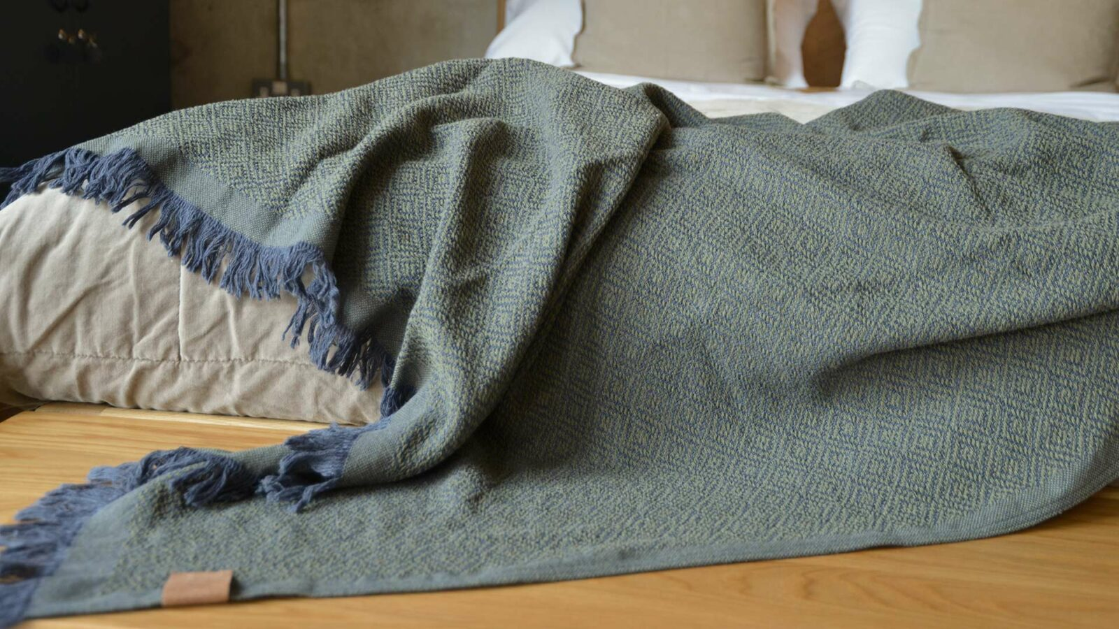 cotton rich woven design throw in olive green and blue